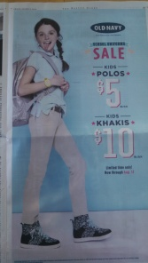 Old Navy Back to School ad Boston Globe 2